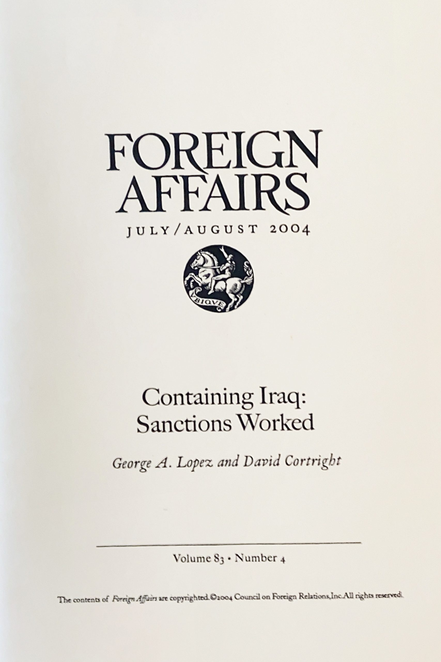 Containing Iraq: Sanctions Worked