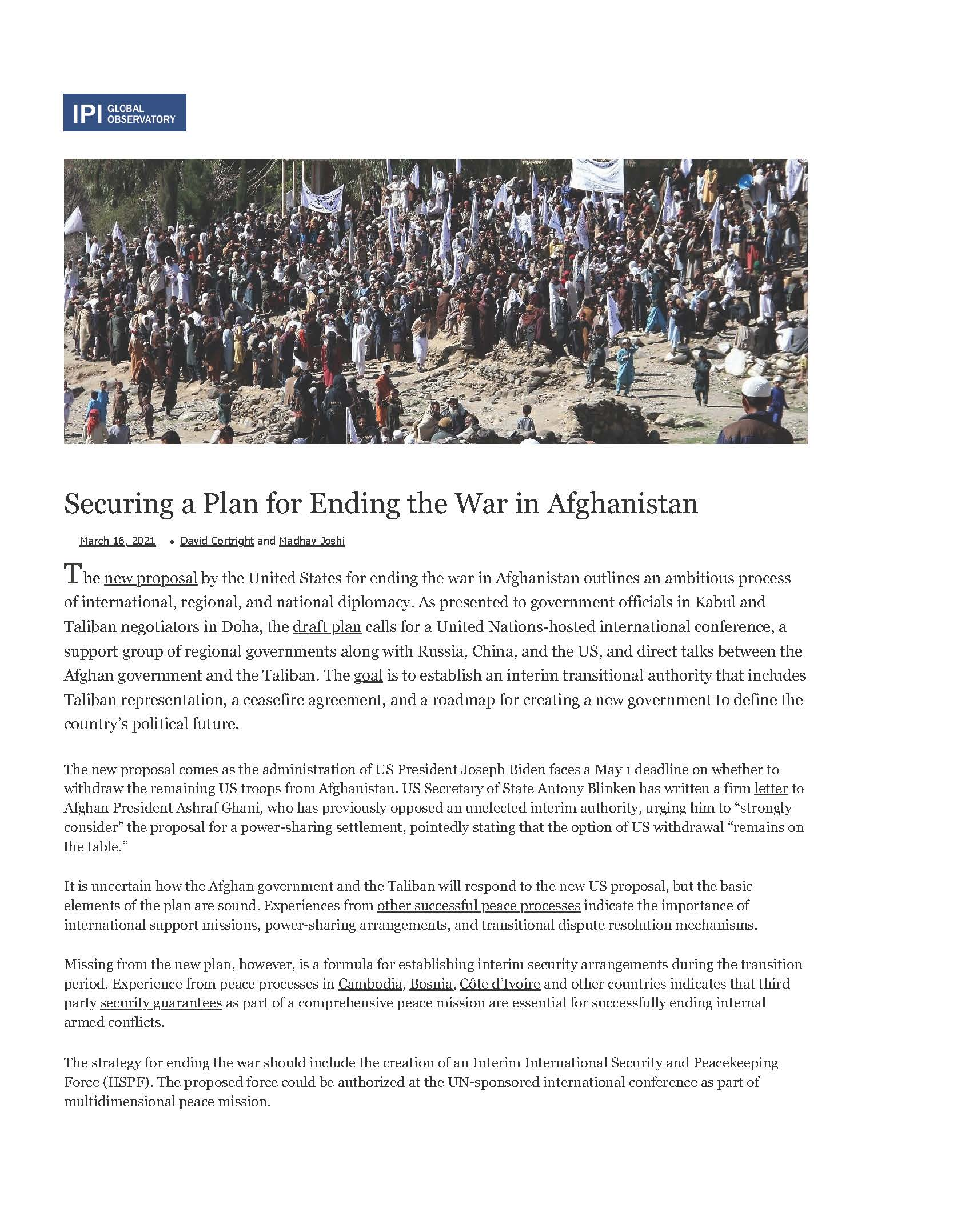 Securing a Plan for Ending the War in Afghanistan
